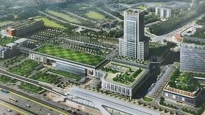 新東區車站配景圖,其中最高的是Tokyu建議建設的18層大樓。