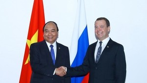 Prime Minister Nguyen Xuan Phuc (L) and his Russian counterpart D.A.Medvedev (Source: VNA)