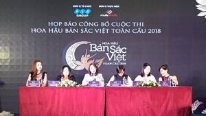 At the press conference of the pageant (Photo: Hanoimoi)