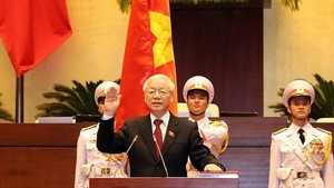 Nguyen Phu Trong, General Secretary of the Communist Party of Vietnam and the new President at the swearing-in ceremony (Photo: VNA)