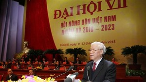Party General Secretary and President Nguyen Phu Trong addresses the seventh congress of the Vietnam Farmers' Union (Photo: VNA)
