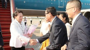 Vietnamese National Assembly Chairwoman Nguyen Thi Kim Ngan arrive in Siem Reap to join the 27th Annual Meeting of the Asia-Pacific Parliamentary Forum. (Photo:VNA)