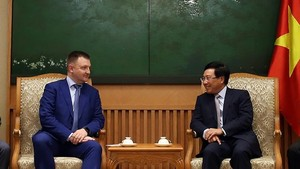 Deputy Prime Minister Pham Binh Minh meets with Head of the Russian Federal Agency for Youth Affairs Alexander Bugayev. (Photo:VGP)