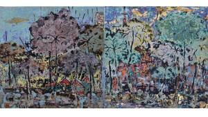 梅大流的《山區上安然自若》油畫在網上拍賣的成交價800萬元。
