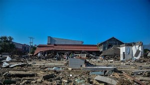 The rubble left following the earthquake and tsunami in Palu, Central Sulawesi province of Indonesia, on October 1, 2018 (Photo: Xinhua/VNA)
