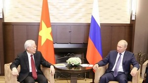 Party General Secretary and President Nguyen Phu Trong meets with President of the Russia Federation V. V. Putin during his official visit to Russia in 2018. (Photo: VNA)