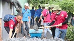 Young volunteers repair a concrete alley in Binh Chanh district. (Photo: Sggp)
