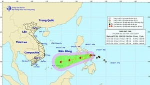 Position of typhoon Kai-tak in the East Sea (Photo: NHMFC)