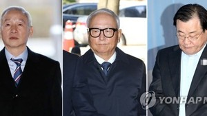 This composite photo filed on Nov. 16, 2017, shows three former spy chiefs embroiled in bribery allegations -- from L to R, Nam Jae-joon, Lee Byong-ho, and Lee Byung-kee. (Yonhap)