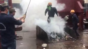 Testing new firefighting liquid. (Photo courtesy of Dr Doan Ha Thang)