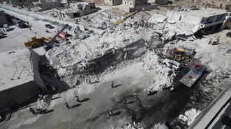 事發當地爆炸後的建築廢墟。(圖源:AFP)