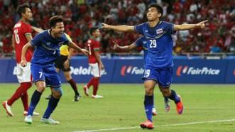 泰國球員慶賀進球。(圖源::互聯網)