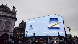 三星智能手機Galaxy Note9廣告亮相英國皮卡迪利廣場。(圖源:韓聯社)