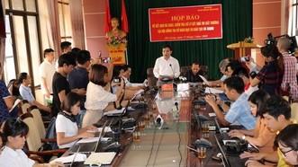 Ông Mai Văn Trinh, Cục trưởng Cục Quản lý chất lượng, Bộ GD-ĐT thông tại buổi họp báo công bố kết quả điều tra nghi vấn gian lận chấm thi THPT quốc gia tại Hà Giang. Ảnh: TTXVN