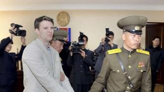 Công dân Mỹ Otto Warmbier bị dẫn giải ra tòa án ở Triều Tiên. Nguồn: KCNA/EPA