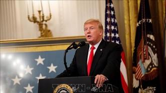 Tổng thống Mỹ Donald Trump phát biểu tại Nhà Trắng ngày 13/9/2018. Ảnh: THX/TTXVN