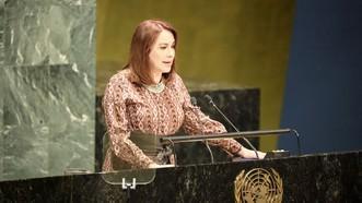 Tân Chủ tịch ĐHĐ LHQ, bà Maria Fernanda Espinosa, phát biểu tại phiên họp thứ 73