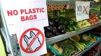 Lệnh cấm sử dụng túi nhựa trong siêu thị. Ảnh : Times of India