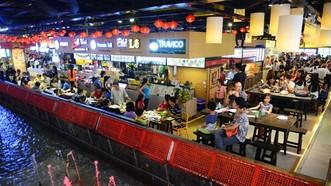 """""""九‧二三""""公園地下層Sense Market街市的飲食區。"""