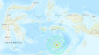 印尼班達海附近發生7.5級地震,震源深度208.3公里。圖中星號表示震中位置。(圖源:互聯網)