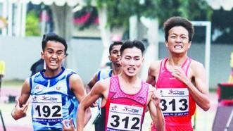 黎進龍與梁德福(右一和右二) 奪得男子1500米的1金1銀。