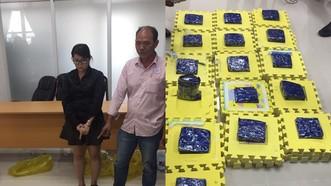 被拘押2名犯罪嫌疑人與毒品物證。(圖源:海關局)