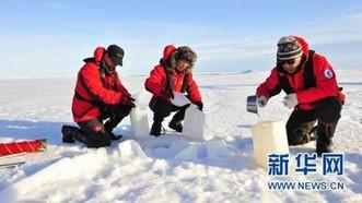 研究團隊在收集北極雪花樣本。(圖源:新華社)