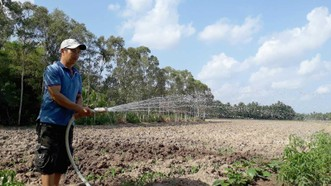 Nguồn nước dần cạn kiệt, người dân bán đảo Cà Mau sẽ gặp khó khăn trong sản xuất nếu hạn hán kéo dài.  Ảnh: TẤN THÁI