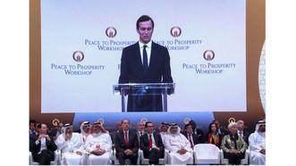 """Cố vấn cấp cao Nhà Trắng Jared Kushner phát biểu tại Hội nghị quốc tế  với chủ đề """"Hòa bình vì thịnh vượng"""". Ảnh: Reuters"""