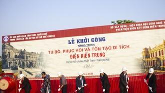 """Khởi công công trình """"Tu bổ, phục hồi và tôn tạo di tích Điện Kiến Trung"""" tại Đại nội Huế"""