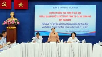 Phó Bí thư Thành ủy TPHCM Võ Thị Dung phát biểu tại hội nghị. Ảnh: Thanhuytphcm