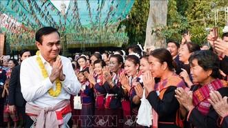 Thủ tướng Thái Lan Prayut Chan-o-cha trong chuyến thăm Mukdahan, ngày 6-2-2019. Ảnh: TTXVN
