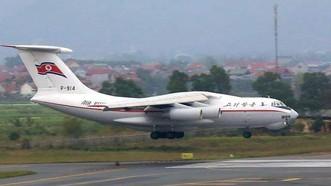 Máy bay vận tải IL-76 MD của Triều Tiên vừa hạ cánh xuống sân bay quốc tế Nội Bài