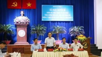 Phó Bí thư Thường trực Thành ủy TPHCM Trần Lưu Quang phát biểu chỉ đạo tại hội nghị. Ảnh: MAI HOA