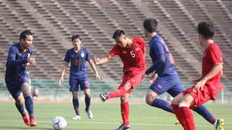越南隊(紅衣)與泰國隊比賽一瞥。