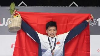 2017年東南亞錦標賽中表現出色的阮友金山游泳健將。