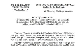 Kết luận số 13/2014 của Thanh tra tỉnh Cà Mau được cho là nguồn cơn dẫn đến công sơn làm giả công văn