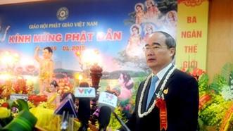 Đồng chí Nguyễn Thiện Nhân phát biểu chúc mừng tại Đại lễ Phật đản 2015