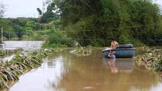 Người dân phải chèo thuyền thúng để di chuyển tài sản