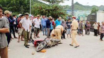 Hiện trường vụ tai nạn giao thông tại KCN Long Mỹ (xã Phước Mỹ, TP Quy Nhơn, Bình Định.