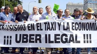 Một cuộc biểu tình phản đối taxi Uber tại châu Âu