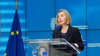 Bà Federica Mogherini thông báo quyết định của EU nối lại quan hệ chính trị với Thái Lan. Ảnh: Bưu điện Bangkok