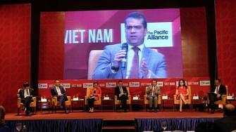 """圖為駐越南的智利、哥倫比亞、墨西哥及秘魯等國大使館昨(22)日在河內市配合舉辦""""在全球化背景下的太平洋與越南聯盟""""研討會。(圖源:中興)"""