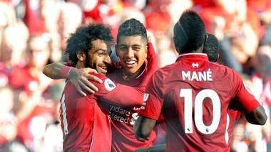 Mohamed Salah, Sadio Mane và Roberto Firmino là bộ ba tấn công hay nhất lúc này. Ảnh: Getty Images