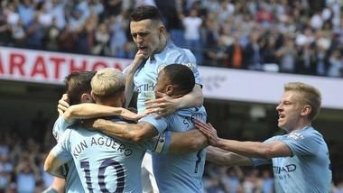 """Man.City đã nhọc nhằn vượt """"cửa ải"""" đầu tiên mang tên Tottenham. Ảnh: Getty Images"""