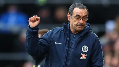 Năm đầu tiên của HLV Maurizio Sarri tại Chelsea không ít thăng trầm. Ảnh: Getty Images