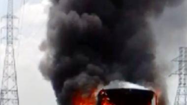 Cháy xe khách trên cao tốc TPHCM-Trung Lương