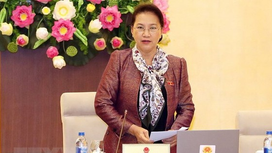 國會主席阮氏金銀主持會議並發言。(圖源:越通社)