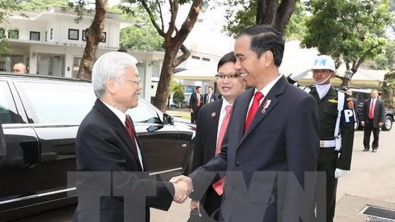 Indonesian President Joko Widodo (R) welcomes Party General Secretary Nguyen Phu Trong on August 23 (Photo: VNA)