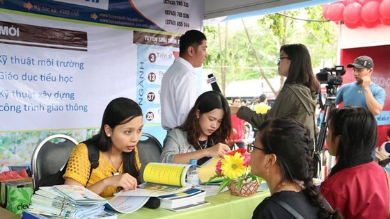 Nhiều bạn trẻ đến tìm hiểu tuyển sinh ở ĐH Trà Vinh